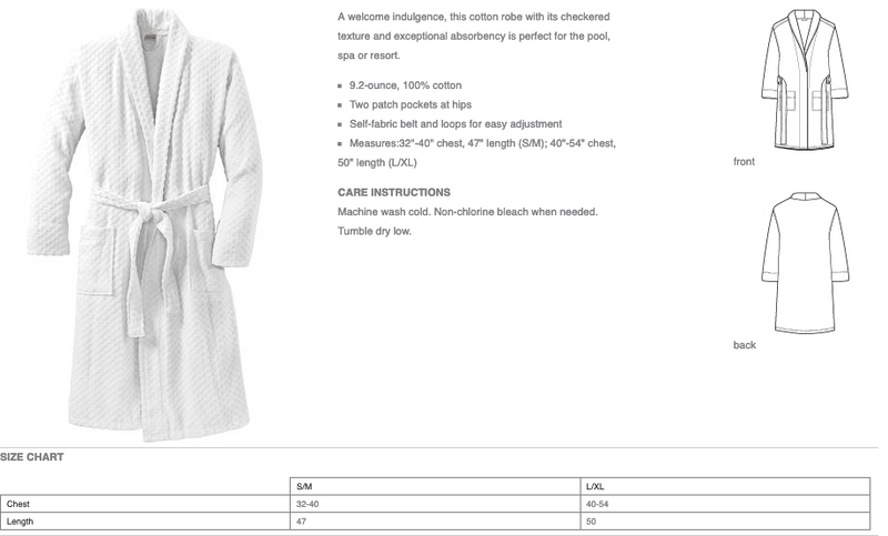 Luxury White Checkered Terry Shawl Cotton Bathrobe for Men & Women Loungewear
