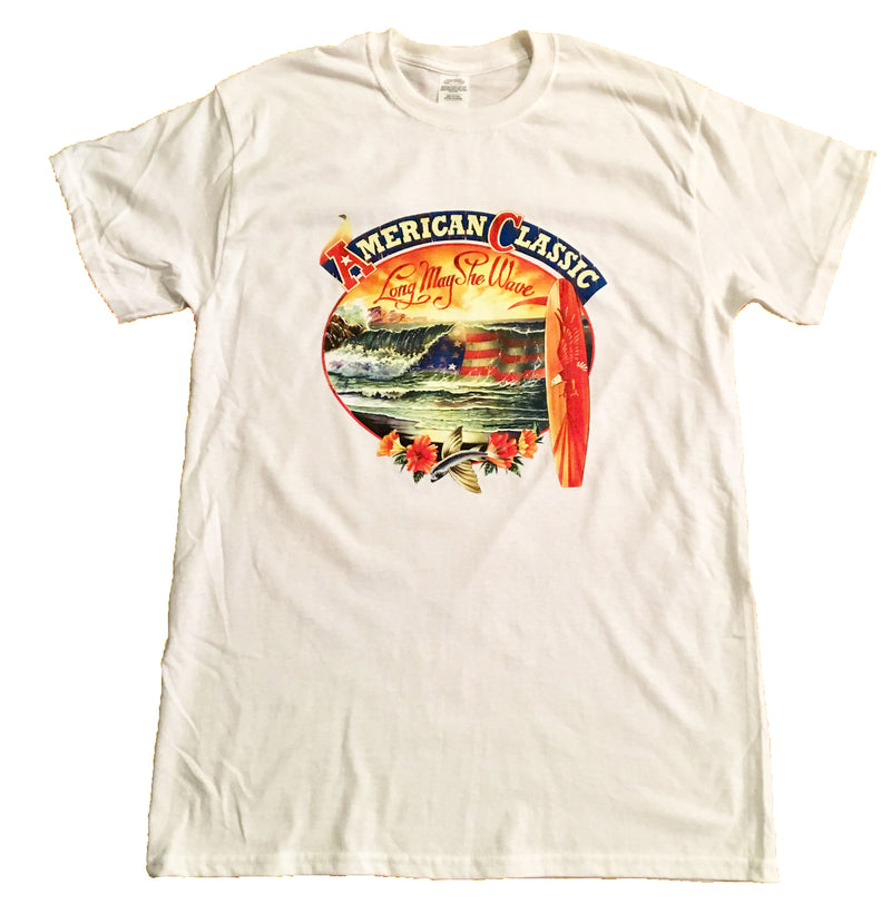 Men's American Classic Longboard Flag T-Shirt - Good Life Apparel