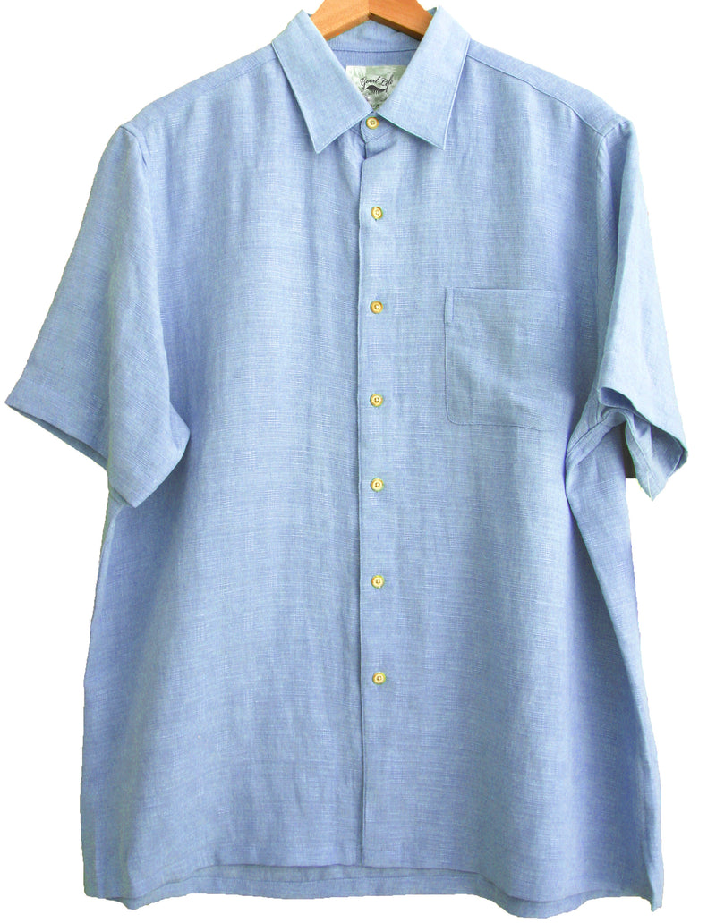 Silk & Linen Blend Crosshatch Solid Camp Shirt