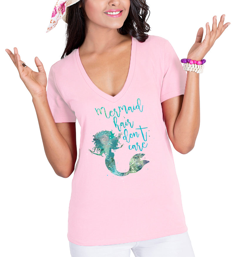 Ladies Mermaid Hair Don't Care V-Neck Beach T-Shirt