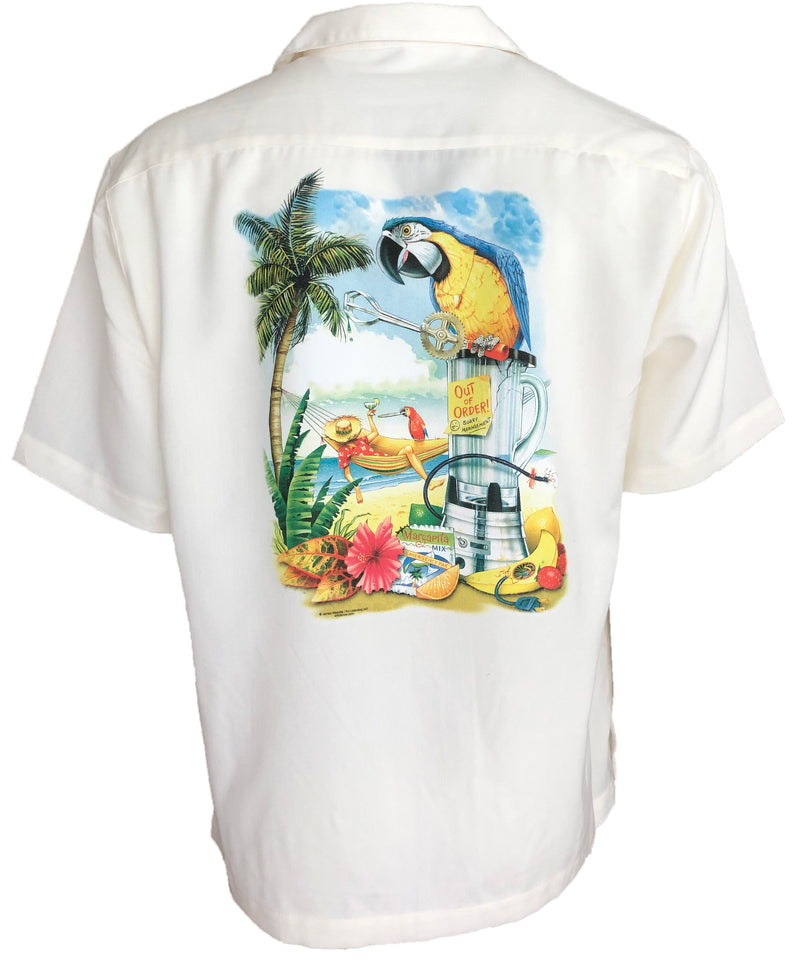 Broken Blender Parrot Beach Cabana Camp Shirt