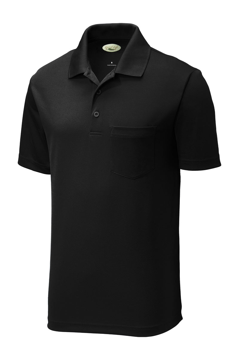 Men's Performance Pocket Polo Solid Moisture Wicking Poly Mesh