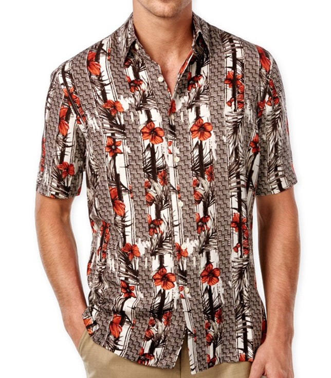 Silk & Linen Blend Vertical Floral Hawaiian Shirt - Good Life Apparel