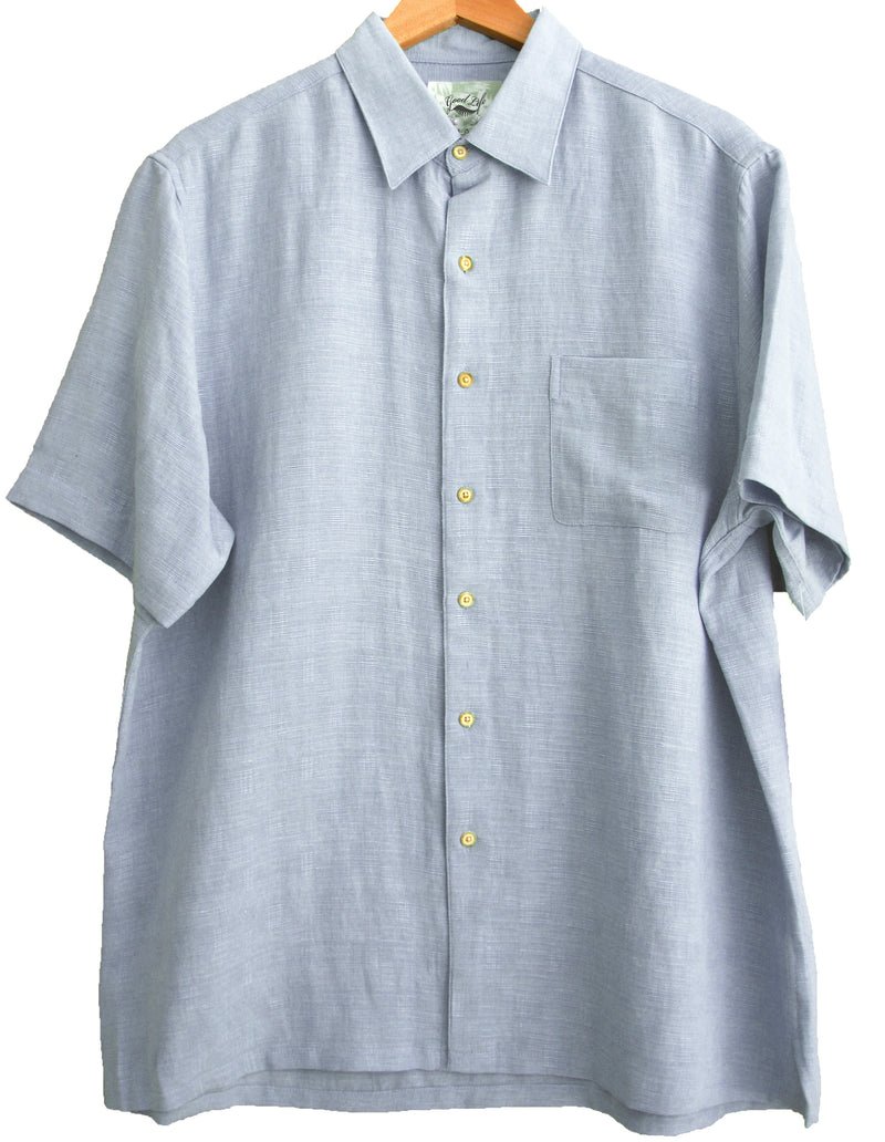 Silk & Linen Blend Crosshatch Solid Camp Shirt - Good Life Apparel