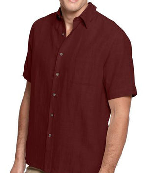 Silk & Linen Blend Crosshatch Solid Camp Shirt -Burgundy