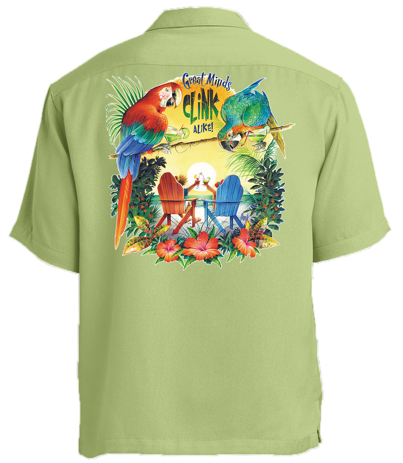 Great Minds Clink Alike Printed Back Cabana Camp Shirt