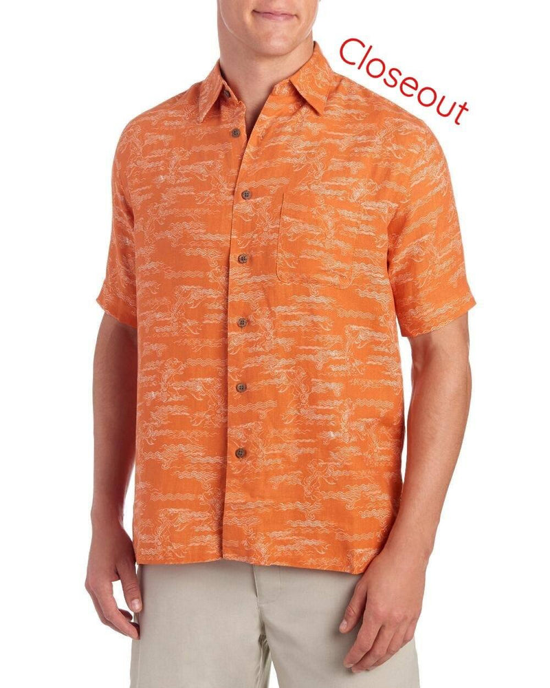 Mens Orange Silk Hawaiian Camp Shirt