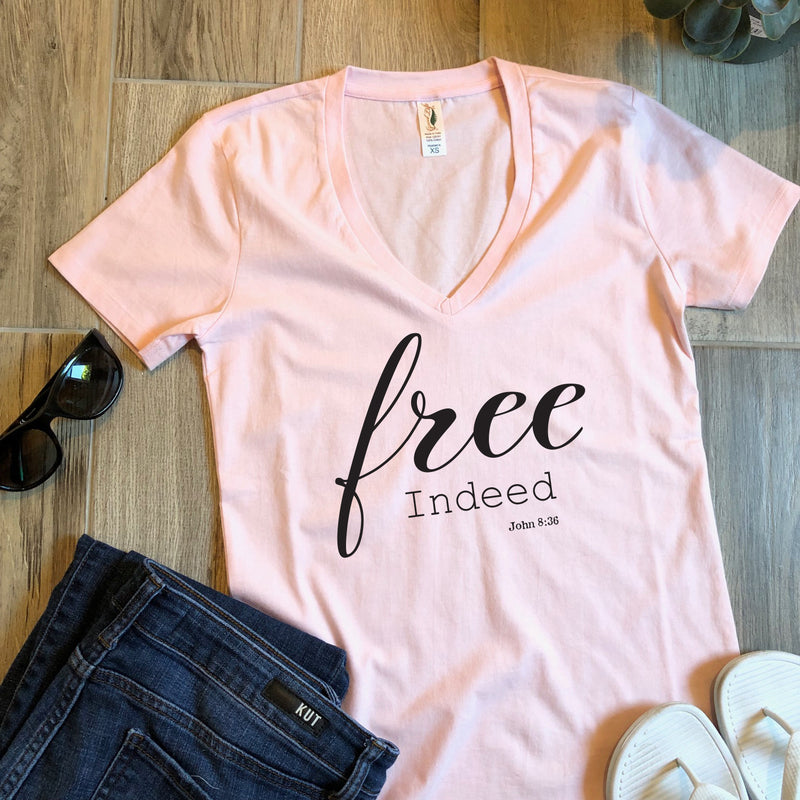 pink free indeed womens christian tee