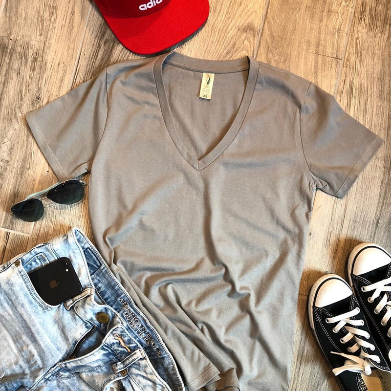 grey womens v-neck tops