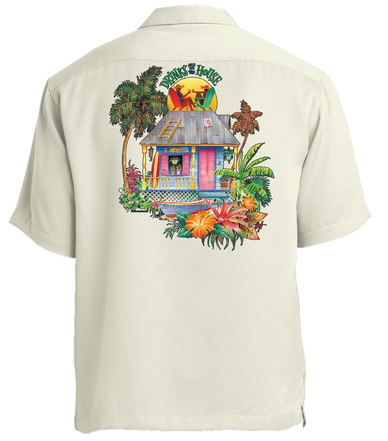 Drinks on the House Printed Back Cabana Camp Shirt