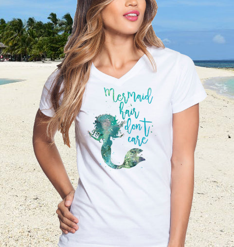 Ladies Mermaid Hair Don't Care V-Neck Beach T-Shirt - Good Life Apparel