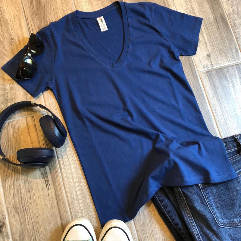 navy blue basic womens v-neck t-shirt