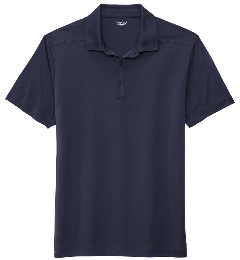 navy blue performance polo