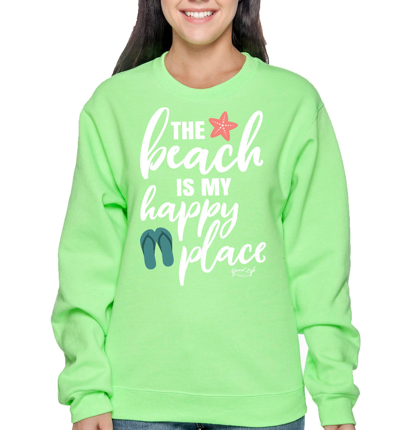 The Beach is my Happy Place Sweatshirt Pullover - Good Life Apparel