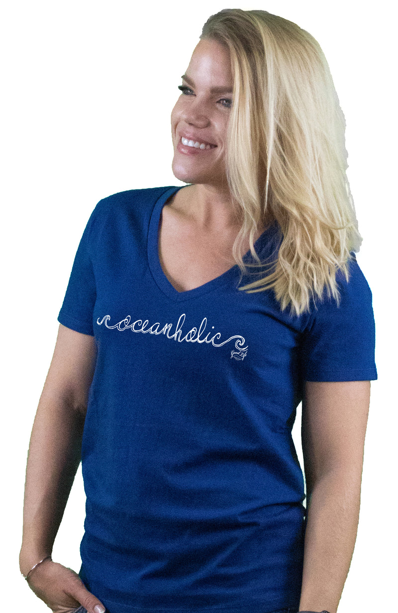 Women's Oceanholic Cotton Beach T-Shirt V-Neck - Good Life Apparel