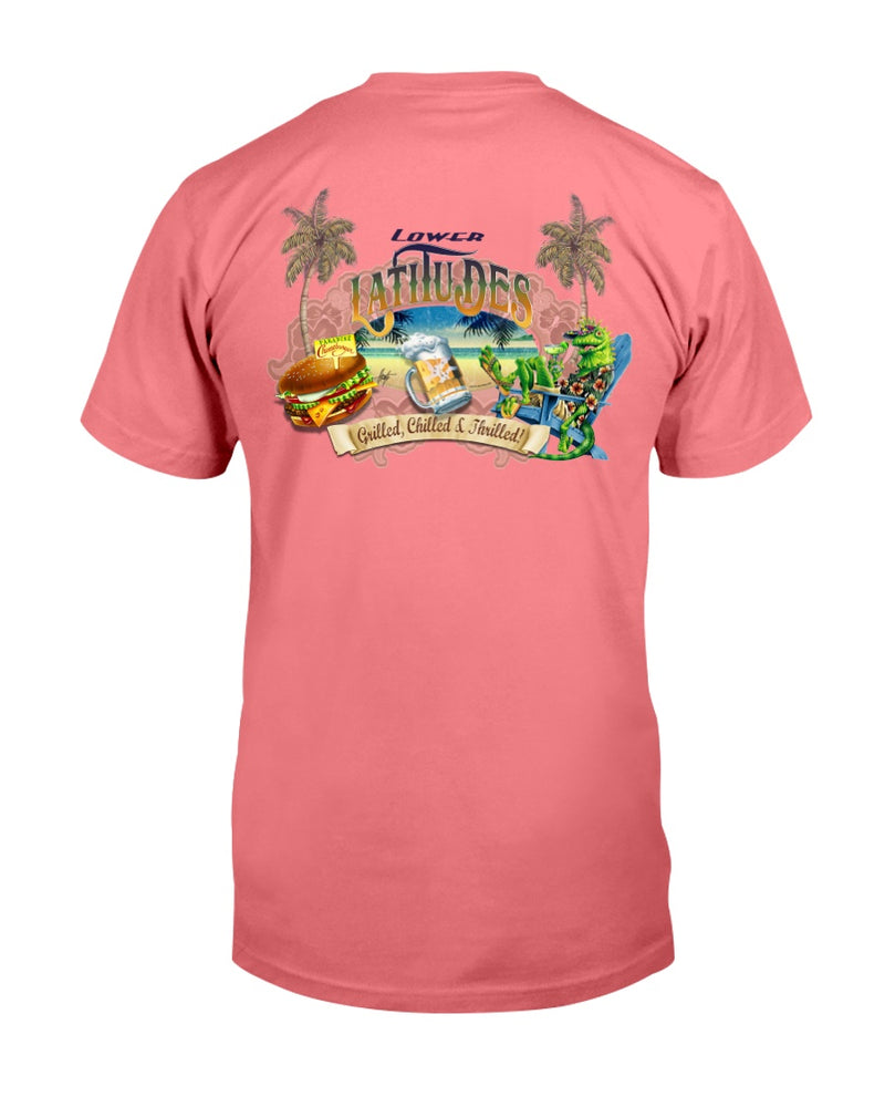 Lower Latitudes Grill Chill & Thrill Paradise Cheeseburger Beer T-shirt