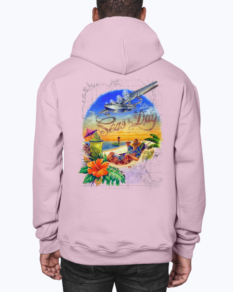 Seas the Day Hoodie Sweatshirt Pullover- Back Print