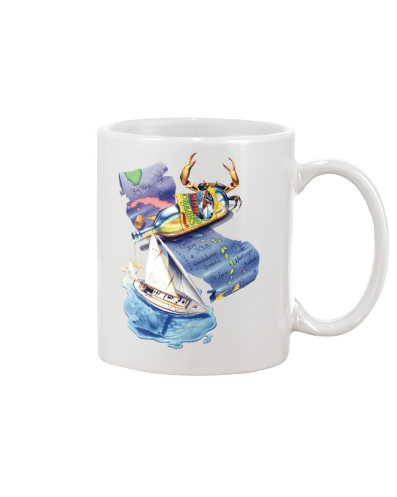 Shipwreck Rum Sailboat Caribbean Map 15 oz Ceramic Coffee Mug