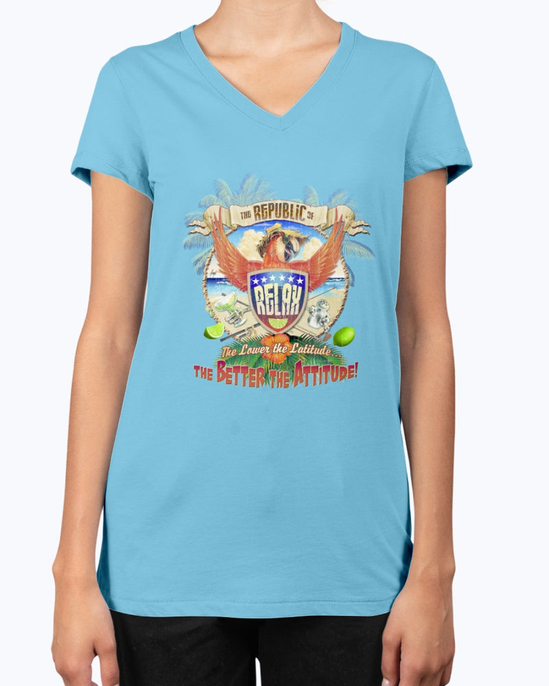 Ladies Republic of Relax V-neck T-shirt