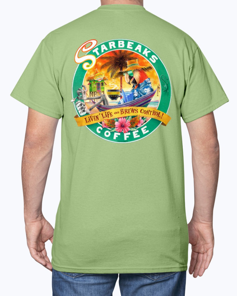 Starbeaks Coffee Macaw Parrot 6 0z Cotton T-shirt