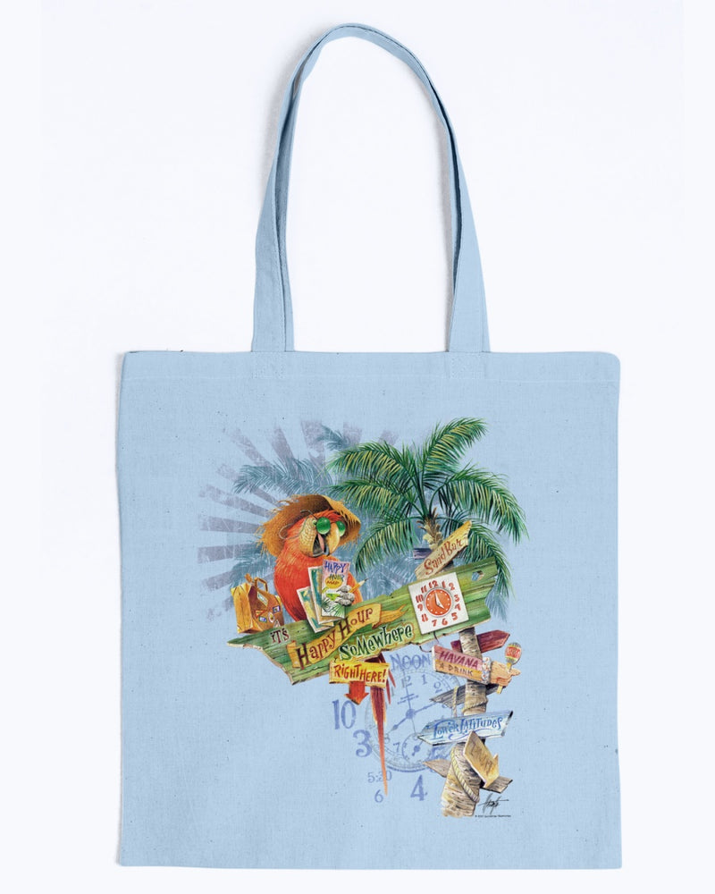 All Signs Point to Happy Hour Canvas Beach Tote Bag