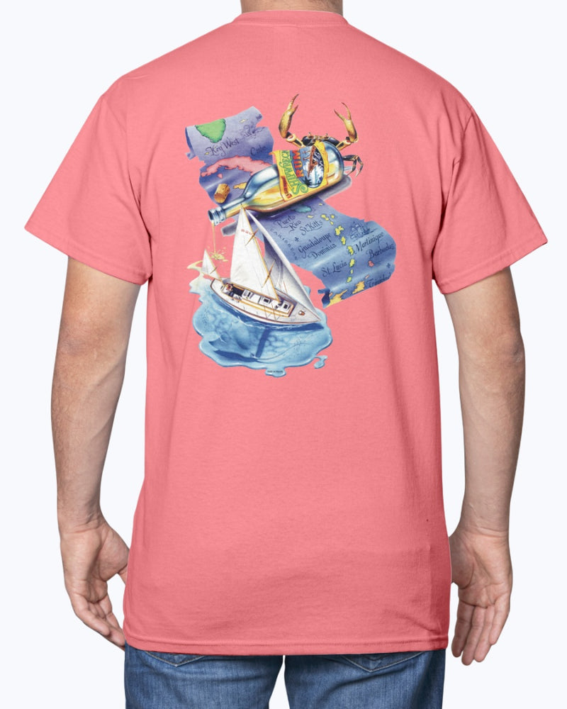 Shipwreck Rum Caribbean Map Sailing Pirate Ship Compass Logo T-Shirt