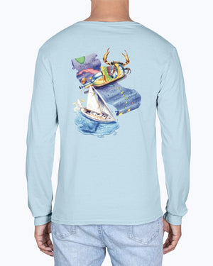 Long Sleeve Shipwreck Rum Caribbean Map Premium Soft Washed T-Shirt