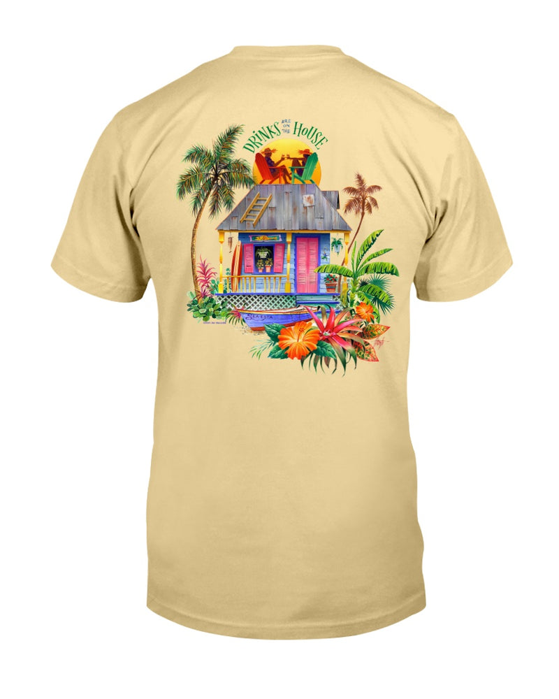 Drinks on the House 6 oz Cotton Beach T-Shirt