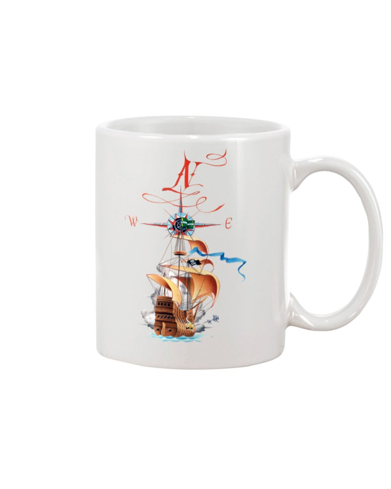 Compass Sailing Pirate Ship 15 oz Ceramic Coffee Mug