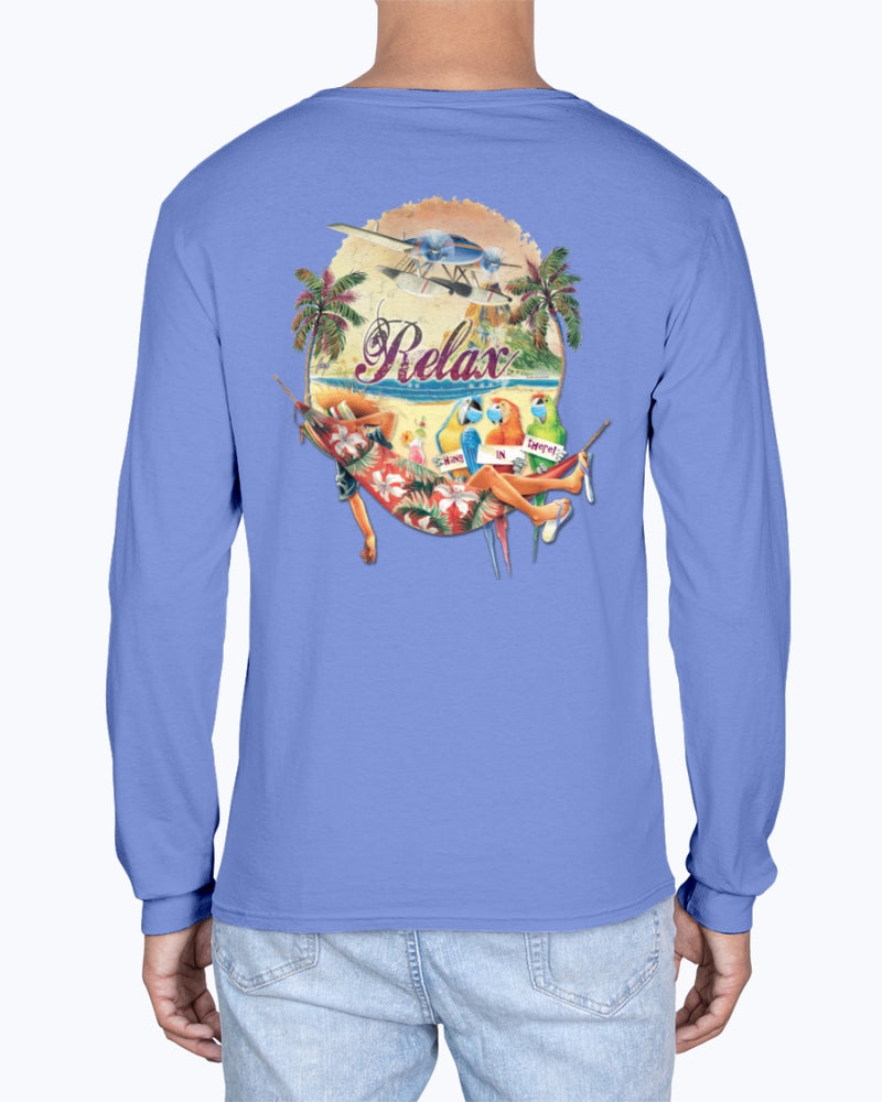 Social Distancing Relax Parrots Hang in There Soft Washed 6.1 oz Cotton T-shirt - Long Sleeve