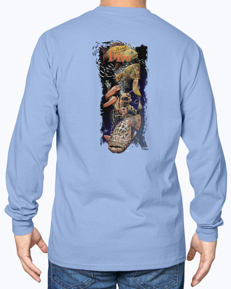 Local Dive 6 ounce Cotton Tee Shirt - Back Print - Long Sleeve