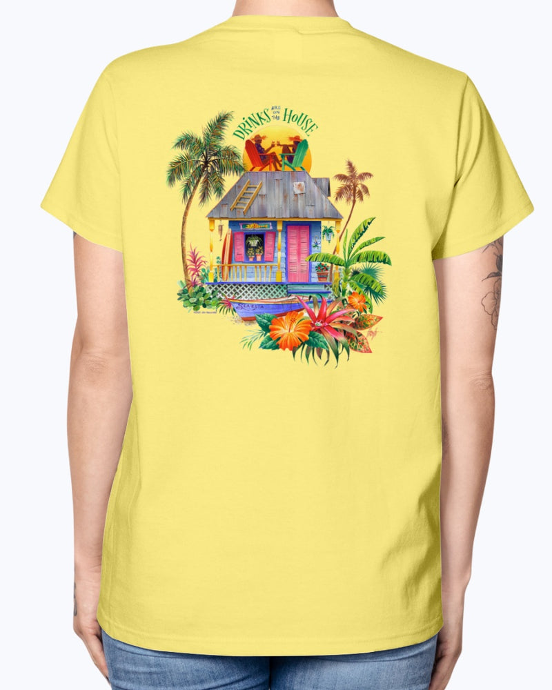 Ladies Drinks on the House Cotton Beach T-shirt
