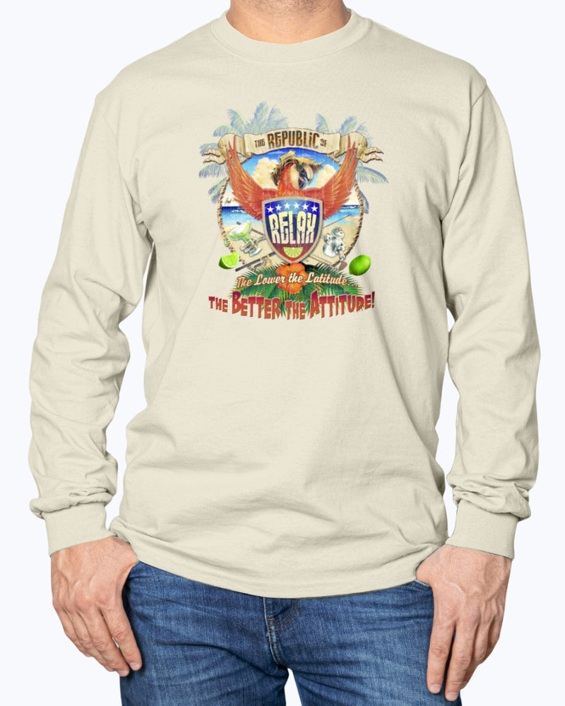 Republic of Relax Long Sleeve Cotton T-shirt - Front Print