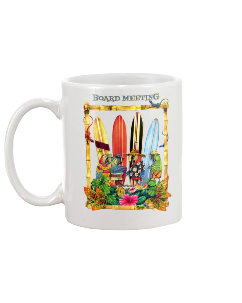 Parrots Board Meeting Surfing Ceramic Coffee Mug 15 oz