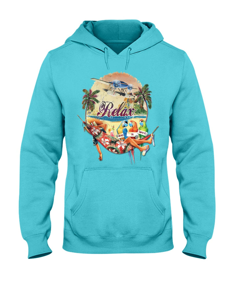 gulf blue relax parrots social distancing hoodie