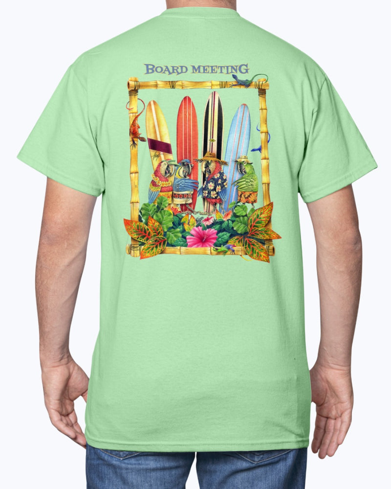 Parrot Board Meeting Surfing Beach T-Shirt