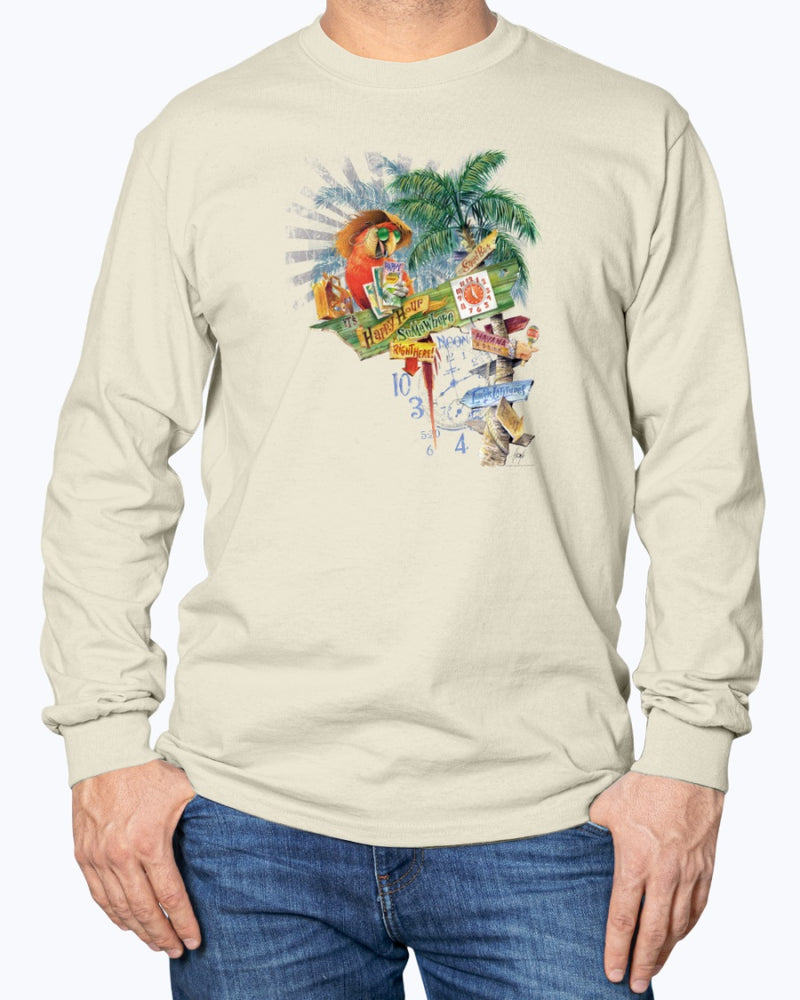 Parrot Happy Hour Signs Long Sleeve Cotton T-shirt - Front Print