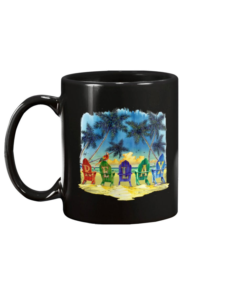 Relax Beach Chairs 15 oz Coffee Mug