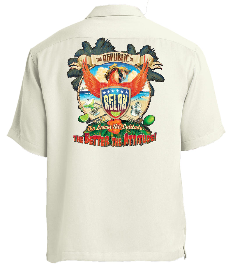 Republic of Relax Printed Back Cabana Camp Shirt