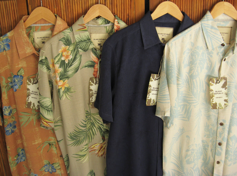 Island Republic 100% Silk Aloha Camp Shirts 4-Shirt Variety Pack