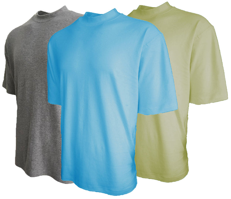Mens Cotton Mock Turtleneck Shirt Short Sleeve Good Life Golf 3-Pack