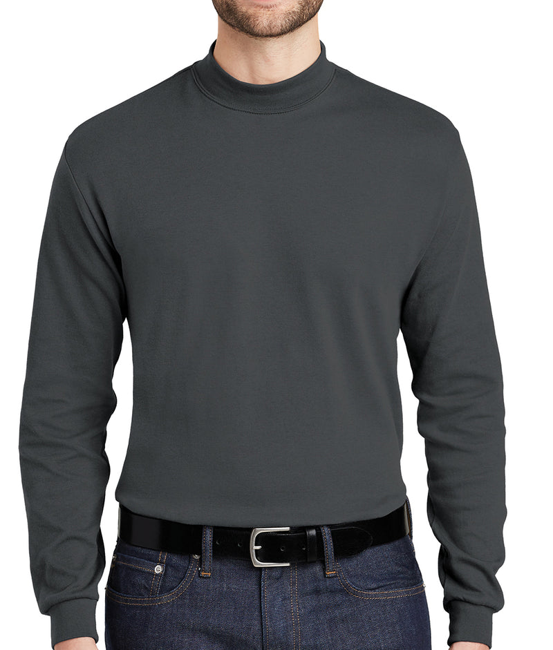 4-Pack Mens 100% Cotton Mid-Weight Long Sleeve Mock Turtleneck 4-Colors