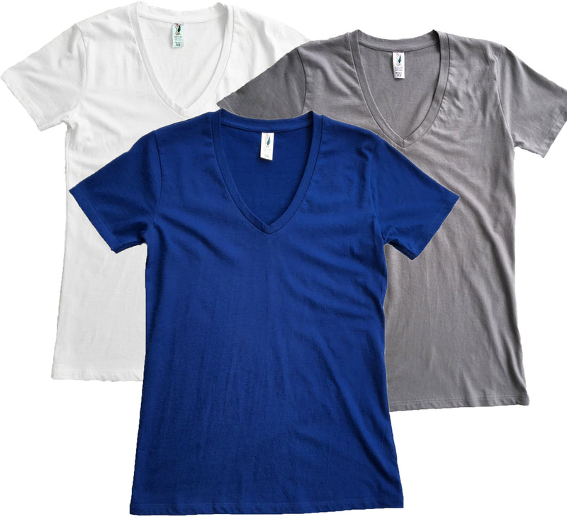 Good Life Women's Luxury Cotton V-Neck T-Shirts 3-Pack - Good Life Apparel