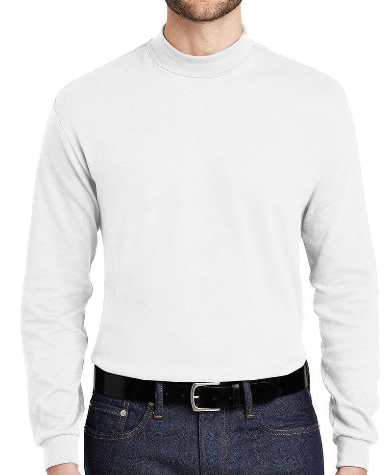 Mens 100% Cotton Mid-Weight Long Sleeve Mock Turtleneck 4-Colors