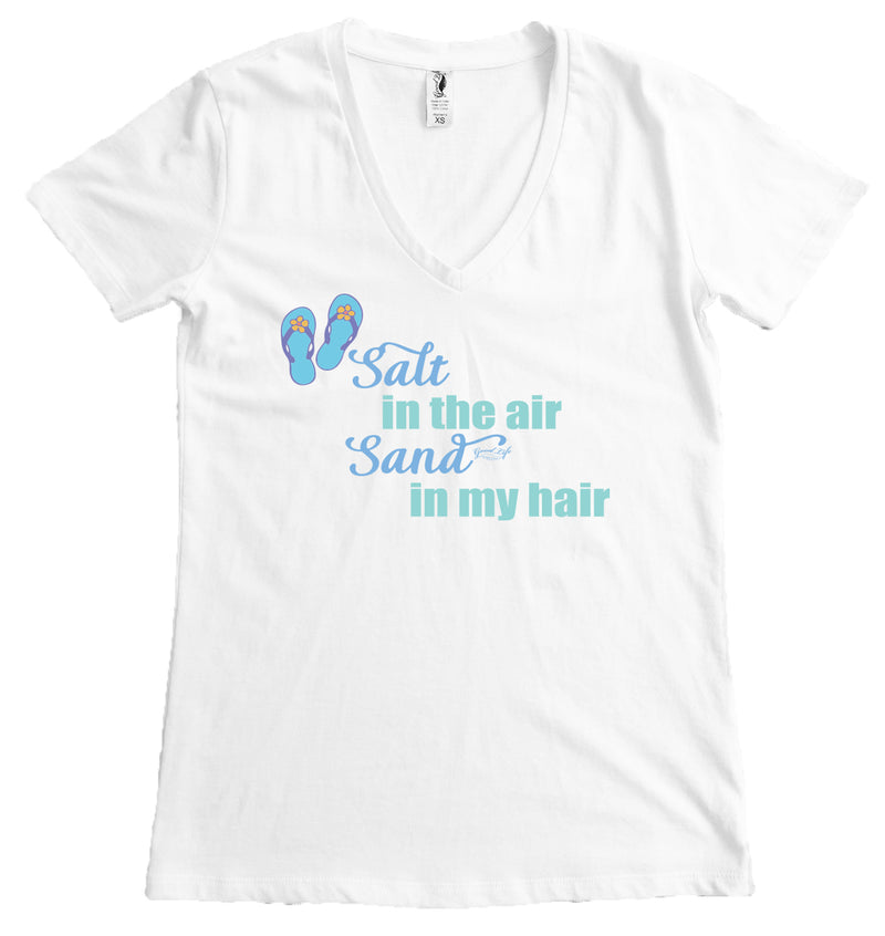 ladies v-neck beach t-shirts