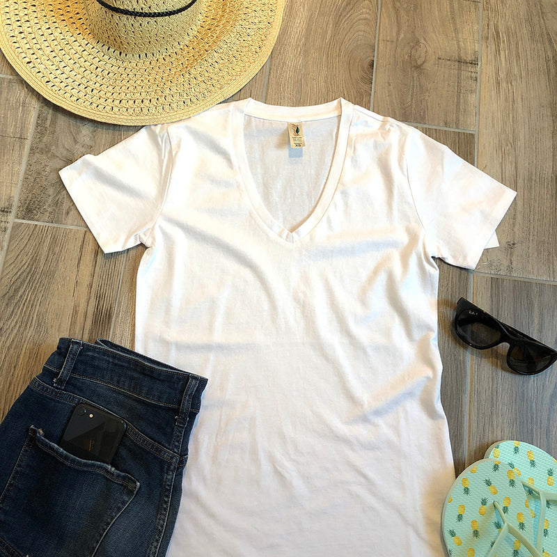 pure white womens v-neck tee
