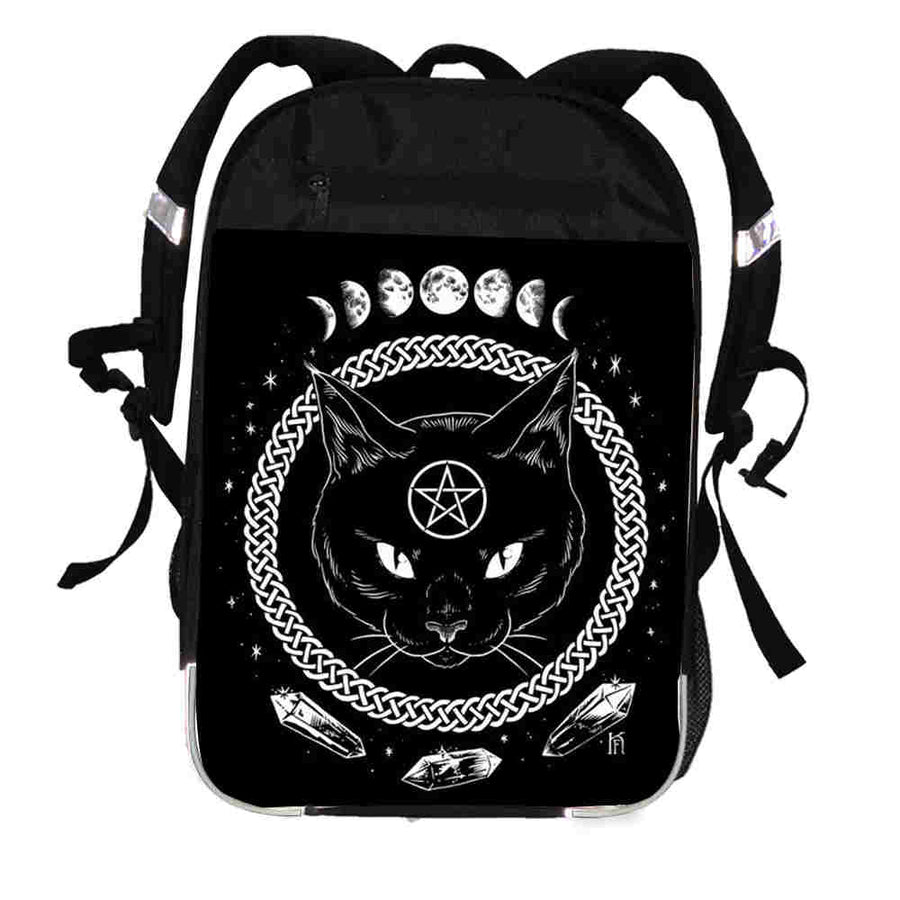 The witching hour backpack anime animal witch cat moon tree crow pumpkin  women men boys girls d08e0228ac615