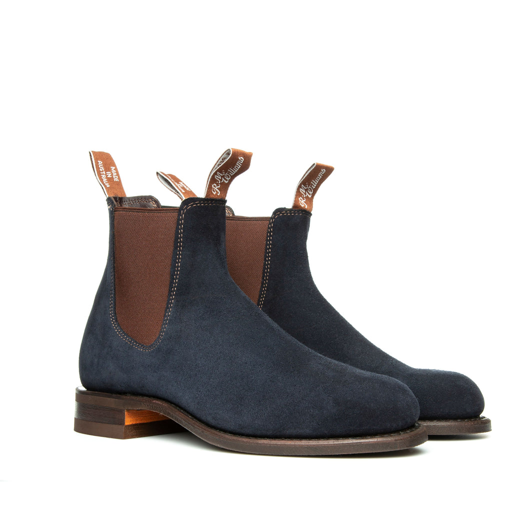 R.M. WILLIAMS - WENTWORTH G-LAST SUEDE BROWN ELASTIC NAVY BLUE