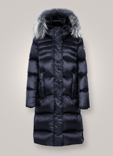 Colmar Glossy Maxi Down Jacket With Fur-Jacket-Colmar-XS-NAVY BLUE-Classic fashion CF13