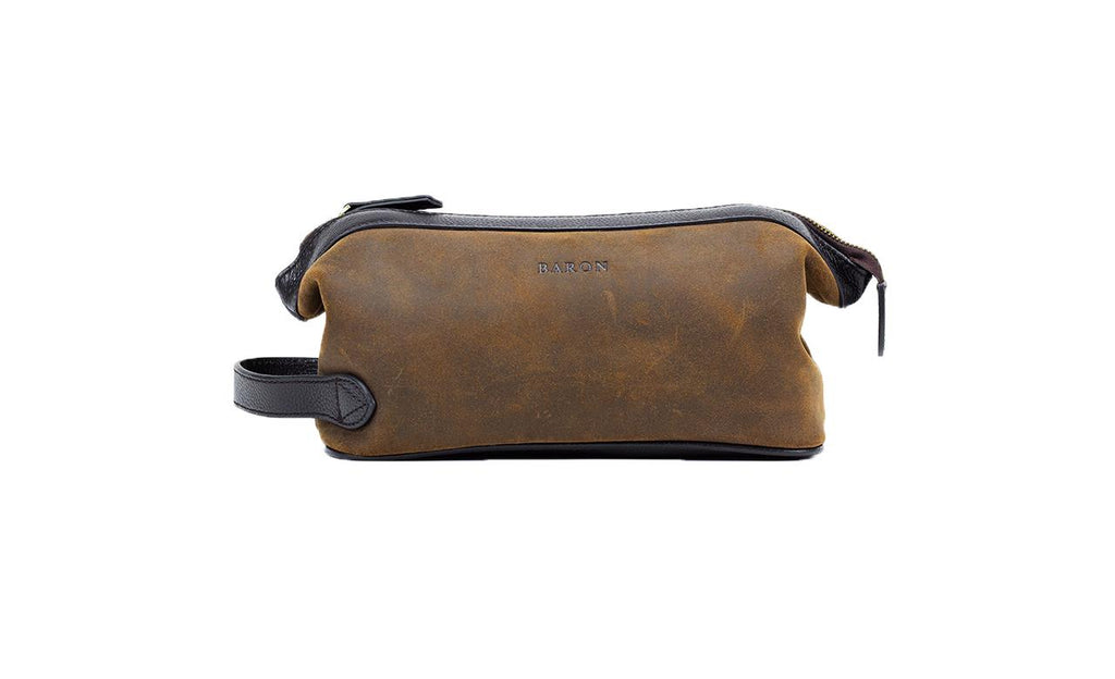 Baron Suede Wash Bag-Bags-Classic fashion CF13-Brown-Classic fashion CF13